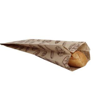 Papirnata vrećica 100 x 50 x 320 mm kraft, sa slikom kruha (500 kom/pak)