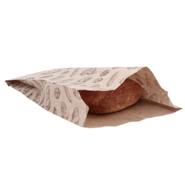 Papirnata vrećica 200x50x320 mm kraft, sa slikom kruha (500 kom/pak)