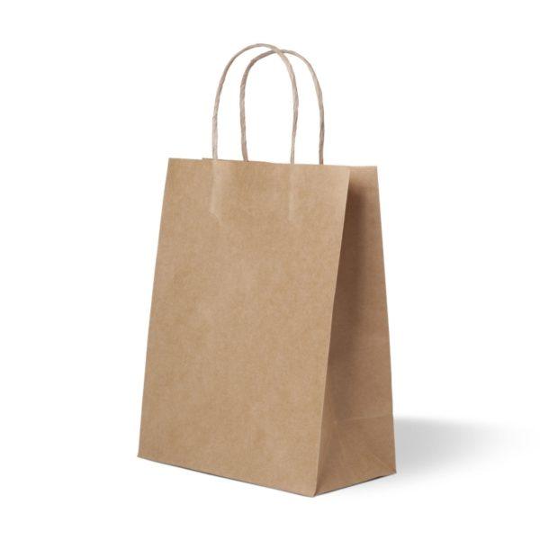 Papirnata vrećica s pletenom ručkom 320x180x430 mm kraft (175 kom/pak)