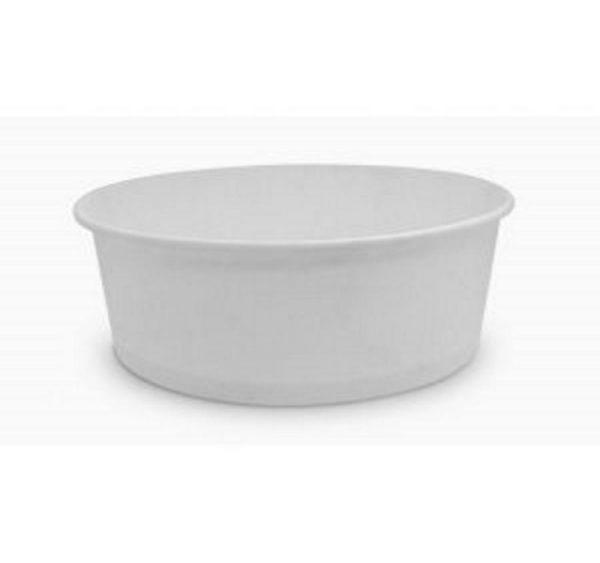 Posuda papirnata 750 ml d=150мм, h=60мм bijeli za salatu s poklopcem, 100 kom (komplet)