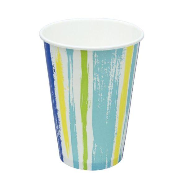 Čaša papirnata jednoslojna 300 (364)ml d=90 mm za hladna pića Prugasta (50 kom/pak)