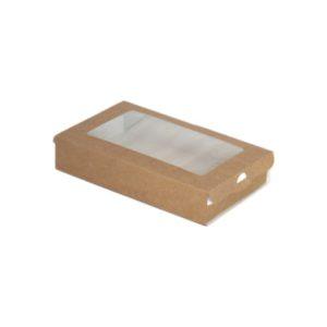 Posuda papirnata ECO CASE 300 pravokutna s prozorom 240ml 100x80x30 mm, Kraft (800 kom/pak)
