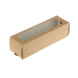 """Posuda papirnata  ECO MB 6 s prozorom za deserte """"Makaron"""" 180x55x55 mm, Kraft (500 kom/pak)"""