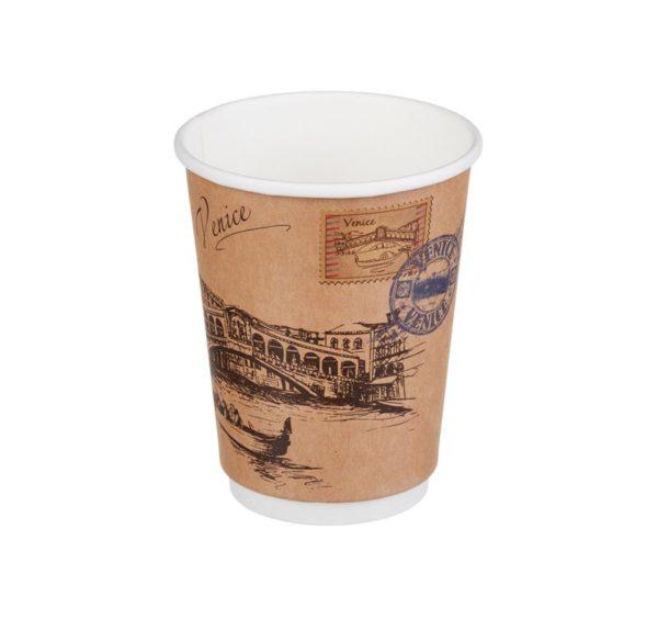 Čaša papirnata 300 ml d=90mm 2-slojna Gradovi svijeta Kraft (20 kom/pak)