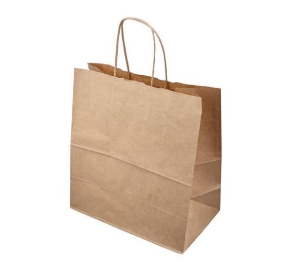 Papirnata vrećica s pletenom ručkom 320x180x370 mm kraft (250 kom/pak)