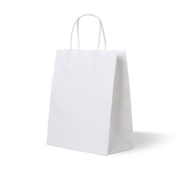 Vrećica papirnata 320x180x370mm bijela sa uvijenim ručkama (250 kom/pak)