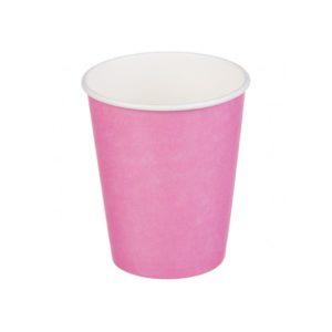 Čaša papirnata jednoslojna 250 (273) ml d=80mm za topla pića roze ( 50 kom/pak)