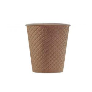 Čaša papirnata 220 ml d=80 mm 2-slojna reljef Waffle, kraft (25 kom/pak)