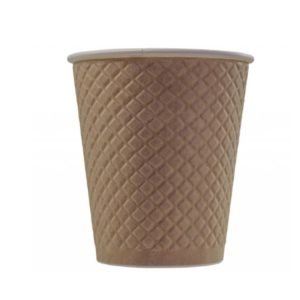 Čaša papirnata 300 ml d=90 mm 2-slojni reljef Waffle, kraft (25 kom/pak)