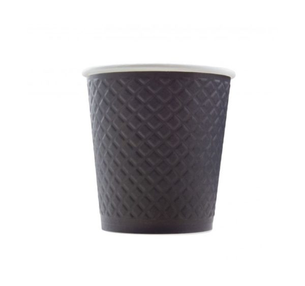 Čaša papirnata 250 ml d=80 mm 2-slojna reljef Waffle, crna (25 kom/pak)