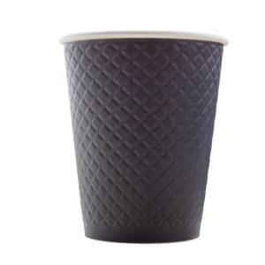 Čaša papirnata 300 ml d=90 mm reljef Waffle crna (25 kom/pak)