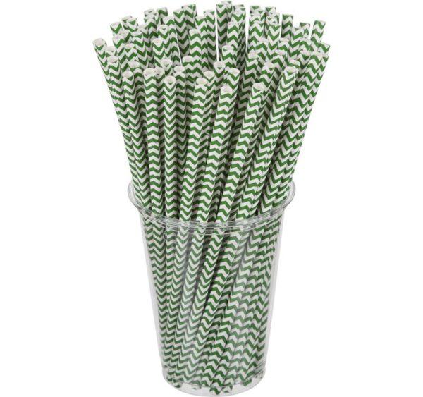 Slamke papirnate Tambien ECO zelene l=210 mm d=6 mm 100 kom/pak