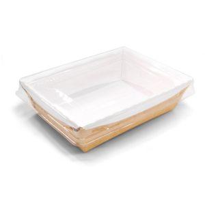 Posuda papirnata Crystal Box 500 ml s prozirnim poklopcem 160x120x45 mm, Kraft (200 kom/pak)