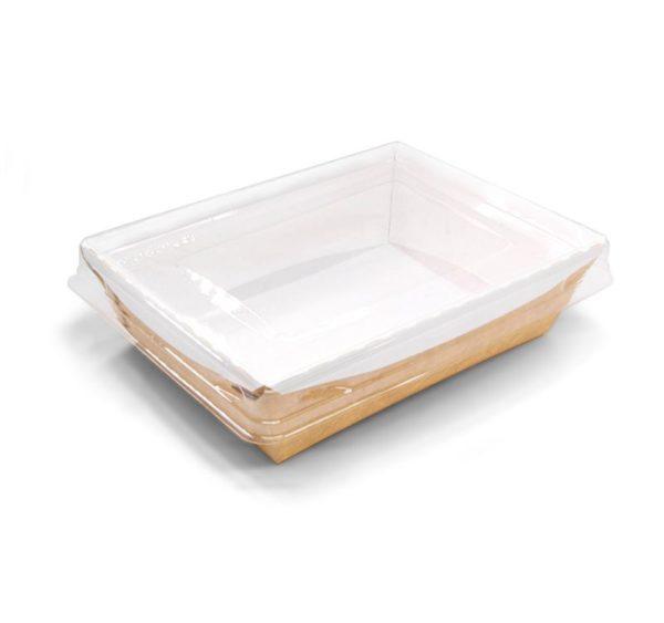 Papirnata posuda s prozirnim poklopcem Crystal Box 500 ml 160x120x45 mm kraft (200 kom/pak)
