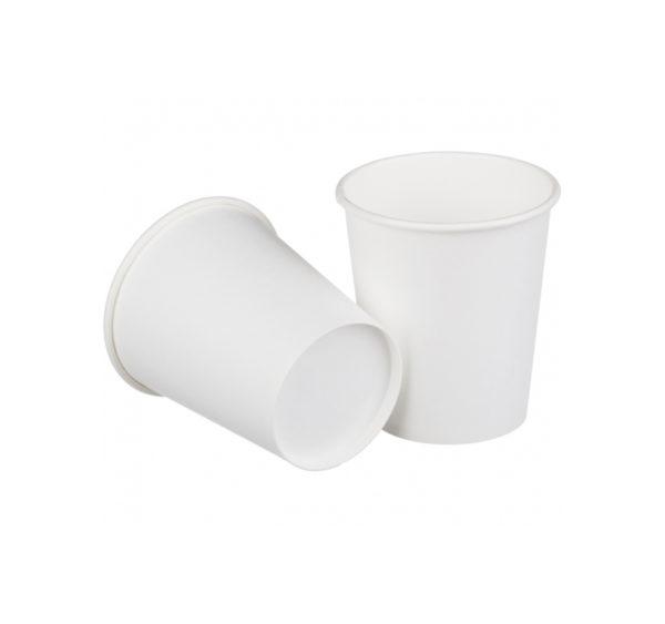 Čaša papirnata jednoslojna 250 (275) ml d=80mm za topla pića bijela (50 kom/pak)