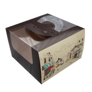 Kutija za tortu s prozorom, s ručkama 250х250х160 mm 1,2 kg Rendezvous (5 kom/pak)