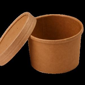 Posuda papirnata za juhu Tambien ECO 240 ml d-90mm, h-60mm, kraft s poklopcem, 25 kom (komplet)