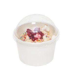Plastični poklopac PS d = 75 mm za zdjelu od papira 130 ml, kupola bez otvora (50 kom/pak)