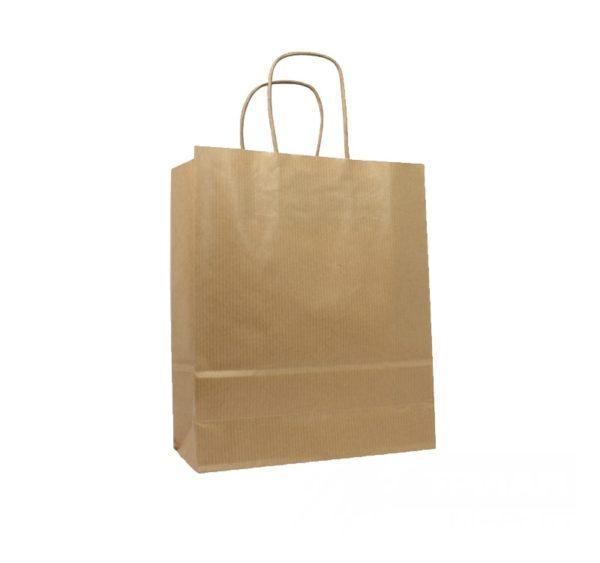 Papirnata vrećica s pletenom ručkom 260х140х350 mm kraft (250 kom/pak)