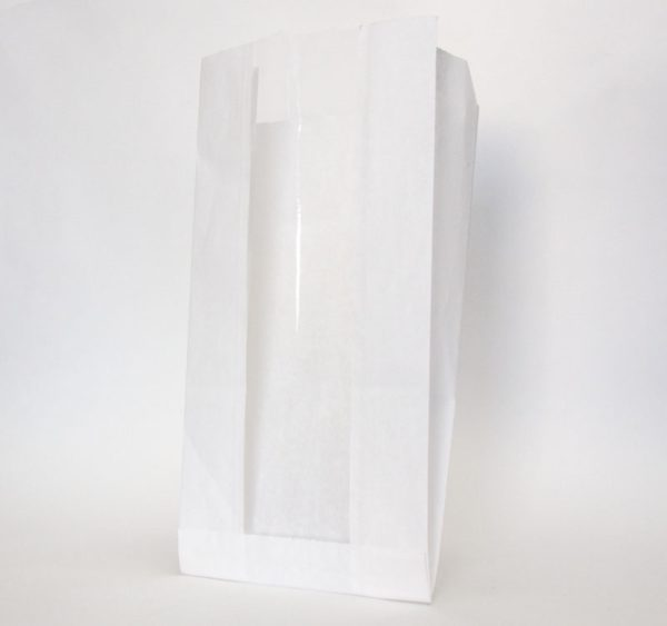 Vrećica papirnata s prozorom 130(50)х100х300 mm bijela (2300 kom/pak)