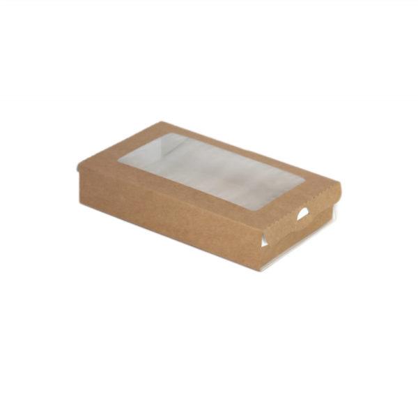 Posuda papirnata s prozorom ECO CASE 240ml 100x80x30 mm kraft (800 kom/pak)