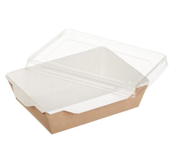 Posuda papirnata za salatu i topla jela s prozirnim poklopcem ECO OpSalad 160х120х45 mm 500 ml, kraft (300 kom/pak)