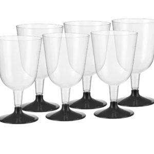 Čaša za vino PS 200 ml prozirna (crna osnova) (324 kom/pak)