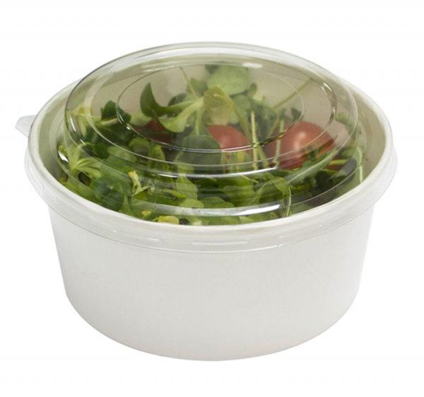 Posuda papirnata sa poklopcem 750 ml d=146mm, h=65mm kraft za salatu 50 kom (komplet)