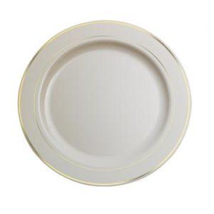 Tanjur Sabert plastični bijeli sa zlatnom bordurom d=19 cm (120 kom/pak)