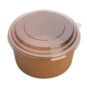 "Posuda papirnata ECO RCONT ""Pure Kraft"" 620 ml d=150 mm h=45 mm s poklopcem (240 kom/pak)"