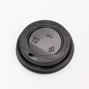 Poklopac sa bočnim otvorom, d=73 mm crni PS