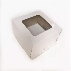 Kutija za tortu 300x300x300mm, valoviti karton, bijela, s prozorom (dno) (50 kom/pak)
