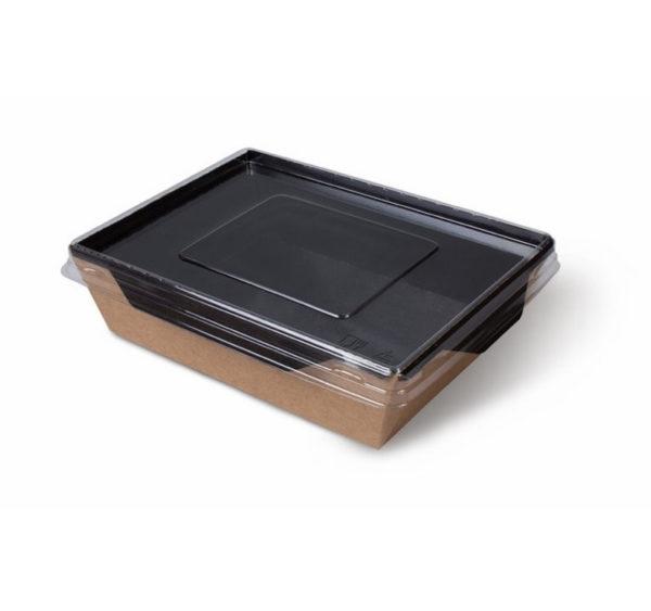 Posuda papirnata s prozirnim poklopcem ECO OPSalad 800 ml 186х106х55 mm Black Edition (200 kom/pak)