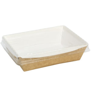 Posuda papirna s prozirnim poklopcem Crystal Box 400 ml 140x100x45 mm kraft (250 kom/pak)