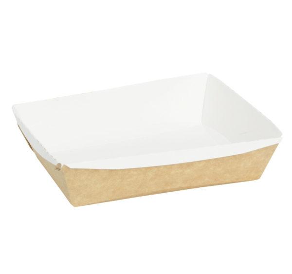 Posuda papirna Crystal Box 400ml s prozirnim poklopcem 140x100x45mm, Kraft (250 kom/pak)
