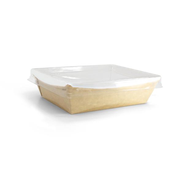 Papirnata posuda sa prozirnim poklopcem Crystal Box 800 ml 180х140х45 mm kraft (40 kom/pak)
