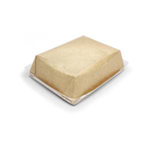 Posuda papirnata Crysatal Box 800 ml sa prozirnim poklopcem 180х140х45 mm, kraft (40 kom/pak)