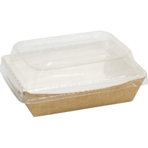 Papirnata posuda s poklopcem kupola Crystal Box 500 ml 160x120x45 mm kraft (50 kom/pak)