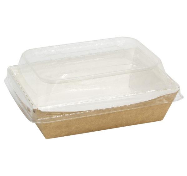 Posuda papirna Crystal Box 500 ml s poklopcem kupola 160x120x45 mm, Kraft (50 kom/pak)