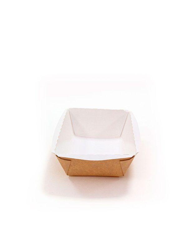 Posuda papirna Crystal Box 400ml s poklopcem kupola 100х140х70 mm, Kraft (400 kom/pak)