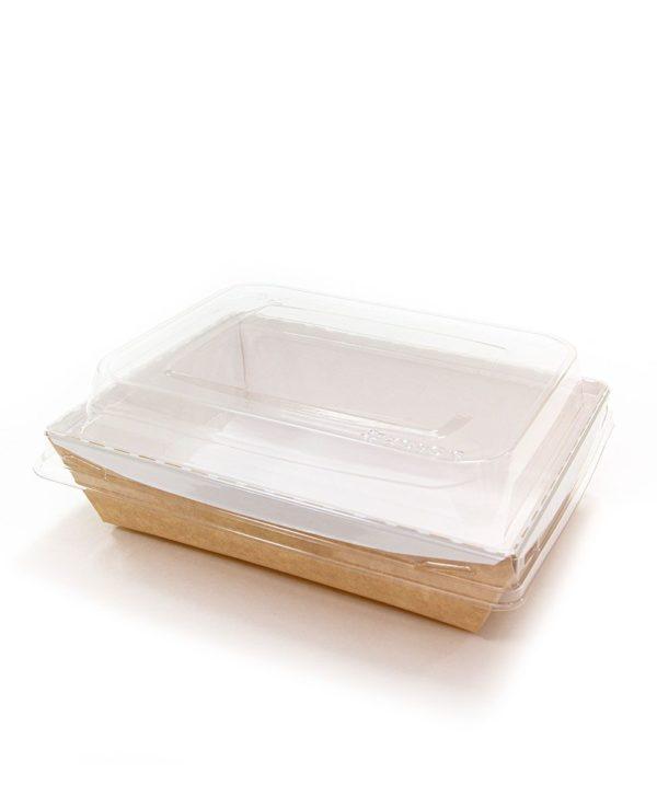 Posuda papirna Crystal Box 800ml s poklopcem kupola 140x180x70 mm, Kraft (160 kom/pak)