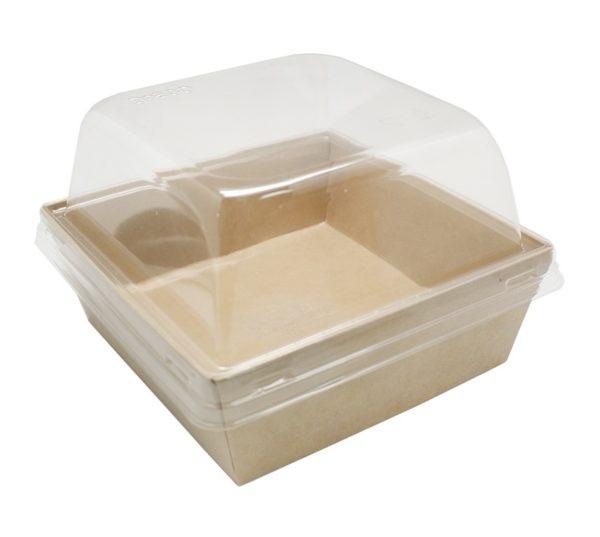 Papirnata kutija ECO Prizma 550 ml 128x128x50 mm kraft (50 kom/pak)