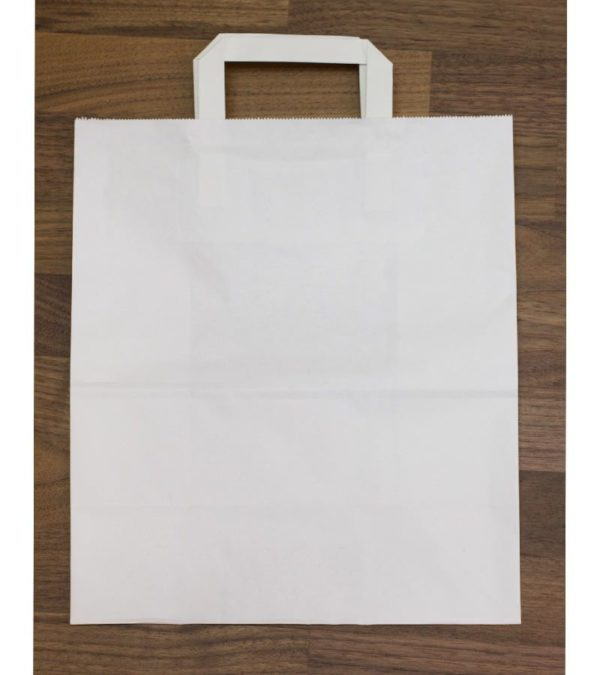 Papirna vrećica 240x140x280 mm bijela, s ravnim ručkama