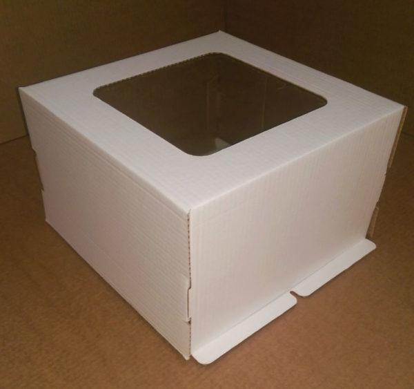 Kutija za tortu (poklopac) 300x300x250 mm bijela valovit karton (50 kom/pak)