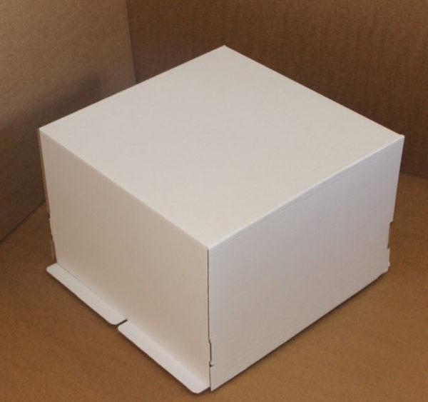 Kutija za tortu (poklopac) 420x420x290 mm bijela valovit karton (25 kom/pak)
