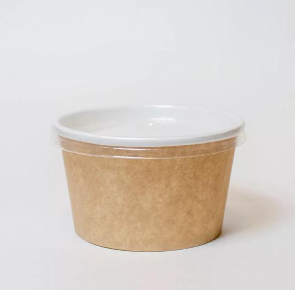 Papirnata posuda za juhu 470 ml d = 110mm h = 65mm kraft s poklopcem (500 kom/pak)