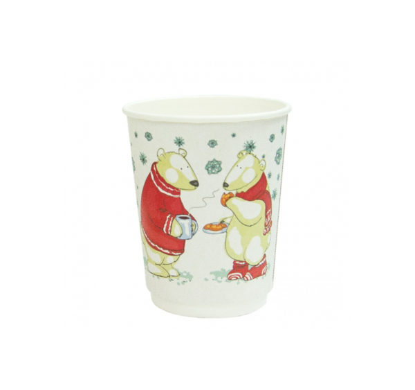 Čaša papirnata 250 ml d=80 mm 2-slojna Bjeli Mjedvedići