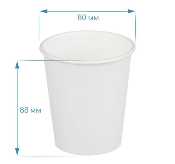 Čaša papirnata 250 ml d=80 mm 1-slojna bijela (50 kom/pak)