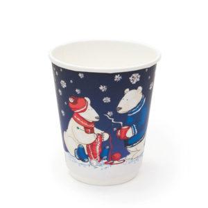 Čaša papirnata 300 ml d=90 mm 2-slojni soft touch Bijeli medvjedi (20 kom/pak)