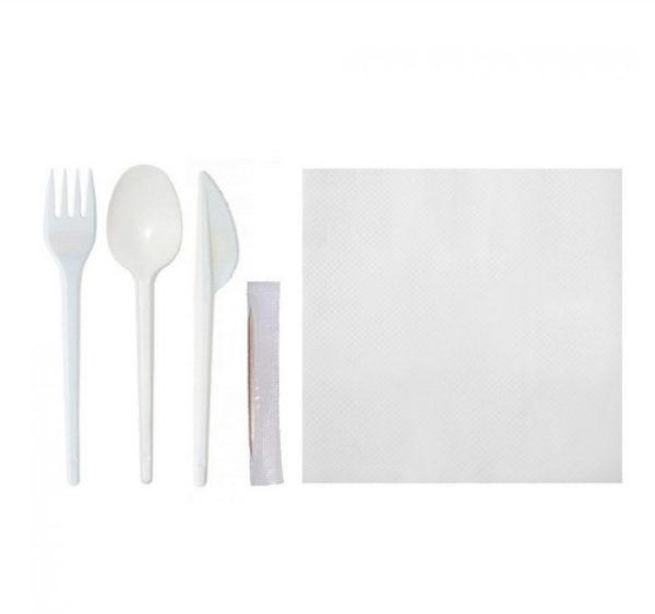 "Komplet ""5 bijeli"" vilica, nož, žlica, čačkalica, salveta (150 kom/pak)"